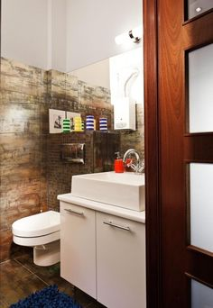 Schon Kleine Badezimmer Ideen Fliesen Metall Optik Waschtisch Unterschrank