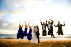Maui bridal party jumps in celebration of Heidi and Mahesh's http://www.joedalessandro.com
