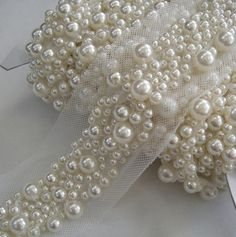 pearls for embroidery on wedding dress. on neckline, scattered down wait and back and down train. Pearl Embroidery, Couture Embroidery, Embroidery Fashion, Embroidery Patterns, Hand Embroidery, Bordados Tambour, Tambour Beading, Bridal Sash Belt, Wedding Belts