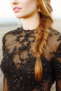 Fishtail braid and black sequins