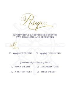 Beyond The Sea RSVP Card in gold foil by Pretty Polite Print Boutique