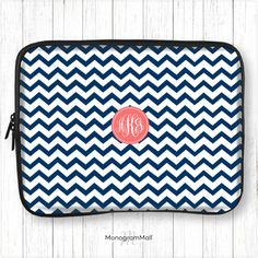 Personalized laptop sleeve, macbook, macbook pro, macbook air, universal, 10, 11, 13, 15, monogram, laptop case, chevron, navy, blue, coral