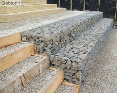 stepped gabion wall and timber steps http://www.gabion1.com