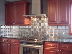 """4"""" x 4"""" Brushed Stainless Steel Tiles, 1 1/4"""" x 4"""" Brushed Stainless Steel Tiles, 1 1/4"""" x 1 1/4"""" Brushed Stainless Steel Tiles, Grain Alternated"""