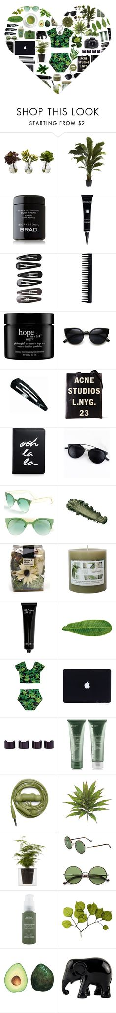 """""""Tropical Summer Breeze"""" by stelbell ❤ liked on Polyvore featuring Nearly Natural, Dermablend, Clips, GHD, philosophy, Acne Studios, Kate Spade, FE NY, Caipirinha and Threshold"""