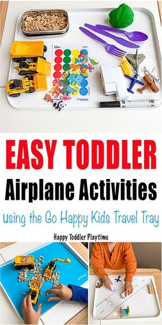Easy Toddler Airplane Activities - HAPPY TODDLER PLAYTIME Looking for ways to entertain your toddler while flying? Check out these easy toddler airplane activities used with a Go Happy Kids Travel Tray! Travel Activities, Sensory Activities, Family Activities, Learning Activities, Toddler Airplane Activities, Infant Activities, Toddler Crafts, Traveling With Baby, Travel With Kids