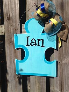 Light it Up Blue Personalized Wood Autism Door by erinbearin Tap the link to check out fidgets and sensory toys! Autism Learning, Learning Disabilities, Puzzle Crafts, Autism Awareness Month, Sensory Toys, Door Hangers, Classroom Decor, Acrylics, Projects To Try