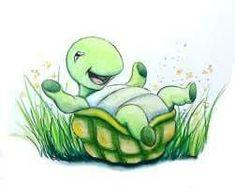 Cute Turtles, Baby Turtles, Art Drawings For Kids, Cute Turtle Drawings, Turtle Time, Cartoon Turtle, Art Impressions Stamps, Art Painting Gallery, Tortoise Turtle