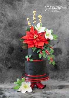 Tarta de la Navidad - Christmas cake - Cake by Yolanda Cueto - Yocuna Arte en Azúcar