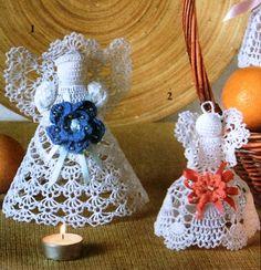 Interesting ideas for decor: Crochet angels . Crochet Angels, Crochet Cross, Thread Crochet, Knit Or Crochet, Crochet Ornaments, Crochet Snowflakes, Angel Ornaments, Christmas Bells, Christmas Angels