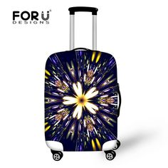 FORUDESIGNS New Elastic Thick Travel Luggage Covers Classic Flowers Printed Waterproof Protective Cover for 18-30 Inch Suitcase