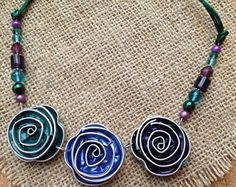 Floral Upcycled Nespresso Coffee Pod Flower Statement Necklace, recycled green, blue, purple