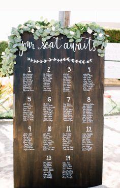 Rustic wooden seating plan