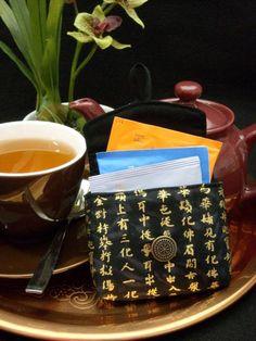 Tea Bag Travel Wallet - Kanji on Black, $9.95