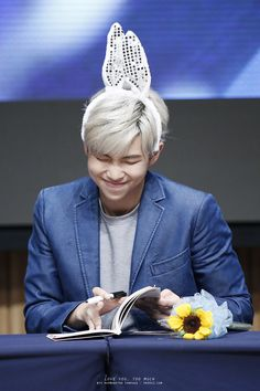 """Bunny-mon all day makes the fans blush with no say"" #BTS #RapMonster #bangtan"