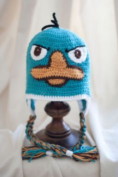 phineas and ferb , perry the platypus, agent P , hat , blue , crochet , crocheted , yarn
