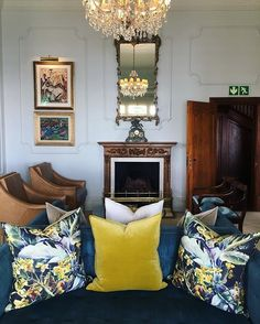 Ellerman House Hotel, South Africa. We're spending the afternoon in our lounge with a cup of tea ____________________________ #boutiquehotel #safariluxury #luxurytravel #neverleave #interior #colors #colour #yellow #edwardian #mansion #lounge #rain