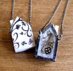 """Home"" necklace.  Kiln fired, then decorated by IngridDijkers via etsy"