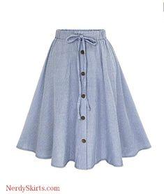 18727ab9a643 Lookatool Skirts, Women Stripe Single-Breasted Lace High Waist Skater Skirt.  Casual SkirtsPlaid SkirtsLong ...