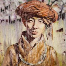 HUNG LIU (Chinese, b. 1948). Chinese Portrait, 1996. Oil on canvas. 31-3/4 x 31-3/4 inches (80.6 x 80.6 cm).