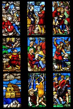 Scenes from the Old Testament depicted in a stained glass window in Milan's glorious gothic cathedral. At bottom left: Noah's Ark. Bottom center: Cain and Abel. Middle right: Abraham and Isaac. Milan Cathedral, Gothic Cathedral, Stained Glass Church, Stained Glass Windows, Cain Y Abel, Giuseppe Arcimboldo, Catholic Art, Gothic Architecture, Renaissance Art