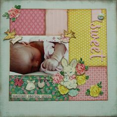Sweet - made with Crate Paper Little Bo Peep collection Baby Girl Scrapbook, Baby Scrapbook Pages, Scrapbook Cards, Crate Paper, Scrapbook Layout Sketches, Scrapbooking Layouts, Studio Calico, Picture Layouts, Drake