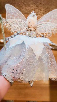 Christmas Tree Fairy, Christmas Makes, Christmas Angels, All Things Christmas, Christmas Ornaments, Christmas Poinsettia, Angel Ornaments, Crochet Christmas, White Christmas