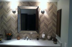 Vanity Mirror Wall Tiled in Herringbone Pattern Bathroom Renovation by Hoganwerks Interior Renovations of Snowmass, Colorado
