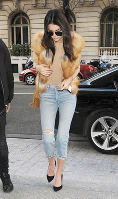 Kendall Jenner Street Style Distressed Denim Nude Colored Turtleneck Fur Vest Pointy Toe Black Pumps | BodyRenn La Femme Renn Nude Crop Top | Urban Style Street Style Inspo Kendall Jenner Street Style Street Fashion Off Duty Model Look Celeb Celeb Style Women's Fashion Women's Style Crop Top Outfits White Crop Top #BodyRenn #KendallJenner #StreetStyle #CelebStyle #Celebs #UrbanStyle #StreetFashion #NudeCropTop #OffDutyModel #CropTopOutfits #WomensFashion #WomensStyle #SpringStyle…