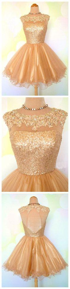 short homecoming dress, gold homecoming dress, short prom dress,Fashion Homecoming Dress,Sexy Party Dress,Custom Made Evening Dress