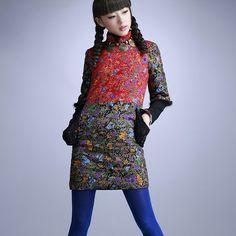 素萝 蝉变 原创设计品牌民族风女装 秋冬装新款拼接连衣棉裙子