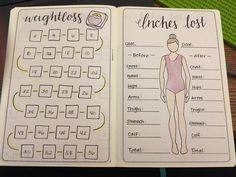 Weight loss tracker and inches lost trackers. Bullet journal stickers, layouts, tips, and more! PlanetPlanIt