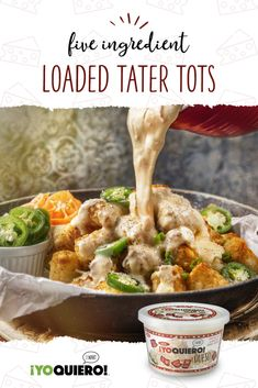 This rich and cheesy Loaded Tater Tots with bacon queso, tomato, jalapeno peppers, and green onions makes a crowd-pleasing snack at a sports tailgate. Recipes Appetizers And Snacks, Finger Food Appetizers, Cottage Cheese Desserts, Truffle Fries, Good Food, Yummy Food, Tater Tots, Green Onions