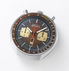 "Seko 6138 Speedtimer Chronograph - Seiko also incorporated Caliber 6138 into a so-called ""bullhead"" model, similar to Omega's manual-wind bullhead, with pushers at the top of the case instead of on the side E 10, Seiko Watches, Mechanical Watch, Vintage Japanese, Breitling, Vintage Watches, Omega Watch, Chronograph, Watches For Men"