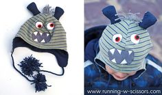 Running With Scissors: Tutorial: Three-eyed Monster Hat - free ear flap hat pattern! :)