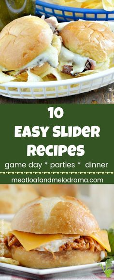 10 Easy Slider Recipes -  Sliders are perfect for game day, party appetizers or when you need a quick and easy dinner idea. Ideal for tailgating, too! from Meatloaf and Melodrama