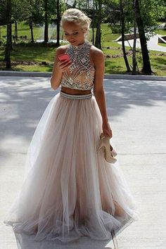Two Piece High Neck Sleeveless Floor-Length Prom Dresses Evening Dresses PG371