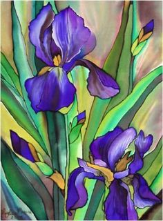 Painting by Leyla Navab ArtSilk Iris Painting, Fabric Painting, Art Floral, Watercolor Flowers, Watercolor Paintings, Watercolors, Iris Drawing, Iris Art, Art Aquarelle