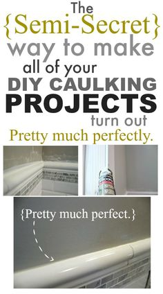 Home Remodeling Tips There's a really easy trick to getting nearly perfect-looking caulking on all your tiling, trim, and renovating projects that no one seems to talk about! I'm spilling the beans! Home Improvement Projects, Home Projects, Home Renovation, Home Remodeling, Kitchen Remodeling, Caulking Tips, Diy Home Repair, Home Repairs, Simple House