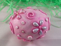 *POLYMER CLAY ~ Easter Egg Pearl Daisies by Artist Christina A Kapono