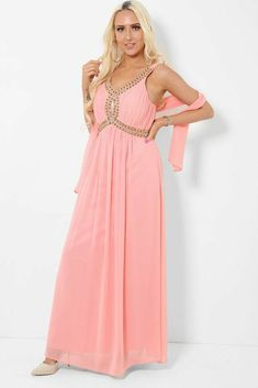 Salmon Pink Embellished Chiffon Maxi Dress Prom Size UK 8 10 Padded Bust Grecian #Unbranded #BallgownPromDress #SpecialOccasion