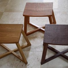 >Read about the slider stool in our newsletter x x Cherry wood with plant-based oil finish Handmade in Japan by Maeda Mitsuru Woodworking Furniture, Art Furniture, Wooden Furniture, Furniture Making, Furniture Design, Woodworking Jigs, Woodworking Projects, Slider, Wooden Stools