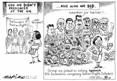 Zapiro: SA Votes against UN Resolution on Human Rights Vladimir Putin / Robert Mugabe / Omar Al Bashir / Bashar al-Assad / Xi Jinping / Kim Jong Un / King Salman bin Abdulaziz al-Saud. Published in: Sunday Times, 11/29/2015.