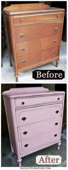 Before & After - Antique Chest in distressed Pink with Black Glaze. From Facelift Furniture. on Facelift Furniture  http://www.faceliftfurniture.com/bedroom-furniture-before-after/