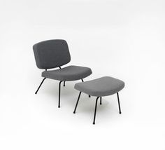 Pierre Paulin; #CM190 Low Chair and Ottoman for Thonet, c1954.