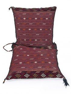 Multi-Color Wool Sumak Kilim Saddle Bag 56.5in x 24.5in