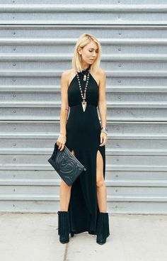 Brittany from The Fashion Drug in the Nasty Gal Dark Divide Maxi Dress | Get the dress: http://www.nastygal.com/sale/dark-divide-maxi-dress?utm_source=pinterest&utm_medium=smm&utm_term=ngdib&utm_content=nasty_gals_do_it_better&utm_campaign=pinterest_nastygal