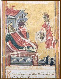 Abgar V di Edessa riceve il Mandylion da Anania. New York, The Pierpont Morgan Library, ms M 499, Miscellanea, terzo quarto XIV secolo, (rotolo, sez. 14)