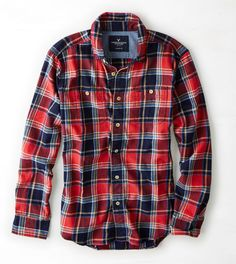 Red AEO Plaid Workwear Shirt