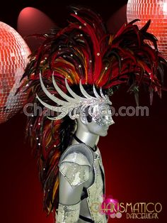 Charismatico Dancewear Store - CHARISMATICO Fierce red feathered Mohawk drag queen or Male mirrored headdress , $240.00 (http://www.charismatico-dancewear.com/products/CHARISMATICO-Fierce-red-feathered-Mohawk-drag-queen-or-Male-mirrored-headdress-.html)